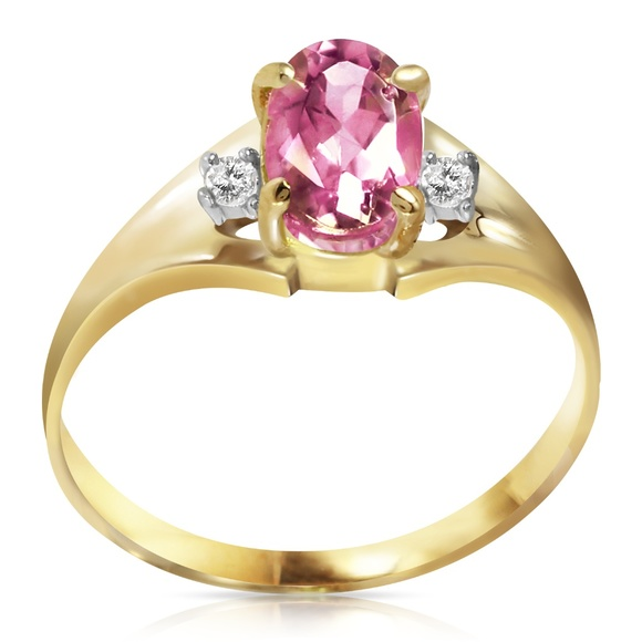 Galaxy Gold Products Jewelry - 14K. SOLID GOLD RINGS WITH DIAMONDS & PINK TOPAZ